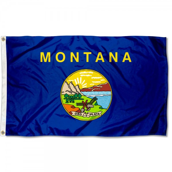 State of Montana Flag measures 3'x5', is made of 100% poly, has quadruple stitched sewing, two metal grommets, and has double sided State of Montana logos.