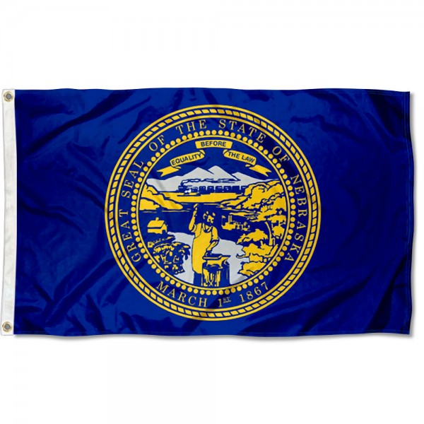State of Nebraska Flag measures 3'x5', is made of 100% poly, has quadruple stitched sewing, two metal grommets, and has double sided State of Nebraska logos.