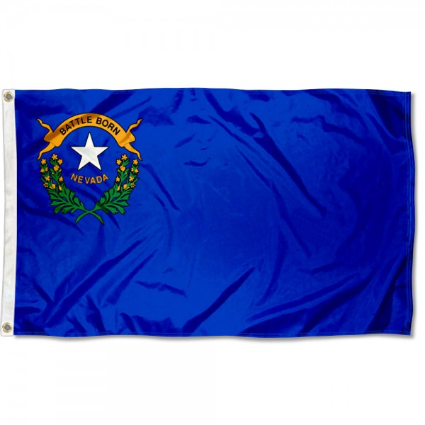 State of Nevada Flag measures 3'x5', is made of 100% poly, has quadruple stitched sewing, two metal grommets, and has double sided State of Nevada logos.