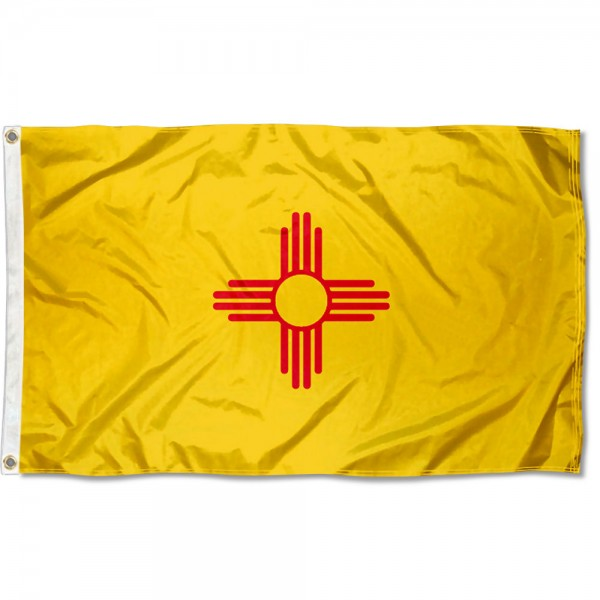 State of New Mexico Flag measures 3'x5', is made of 100% poly, has quadruple stitched sewing, two metal grommets, and has double sided State of New Mexico logos.