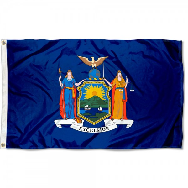 State of New York Flag measures 3'x5', is made of 100% poly, has quadruple stitched sewing, two metal grommets, and has double sided State of New York logos.