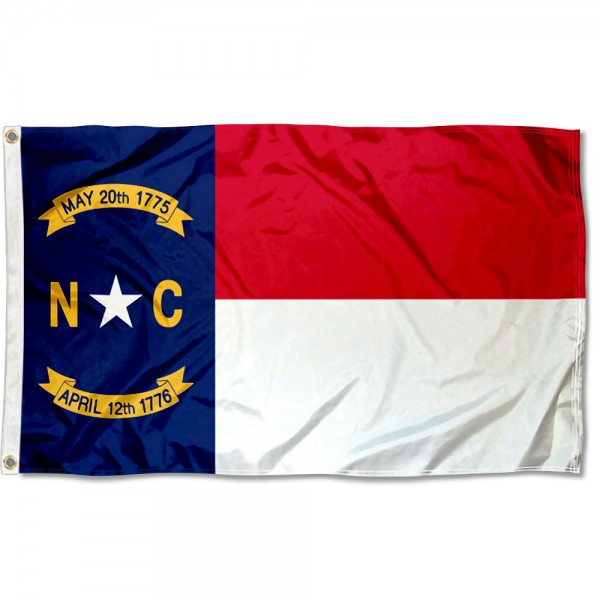 State of North Carolina Flag measures 3'x5', is made of 100% poly, has quadruple stitched sewing, two metal grommets, and has double sided State of North Carolina logos.