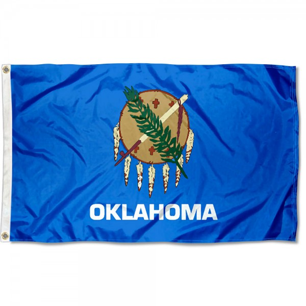State of Oklahoma Flag measures 3'x5', is made of 100% poly, has quadruple stitched sewing, two metal grommets, and has double sided State of Oklahoma logos.