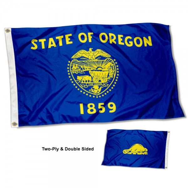 State of Oregon Flag measures 3'x5', is made of 100% poly, has quadruple stitched sewing, two metal grommets, and has double sided State of Oregon logos.