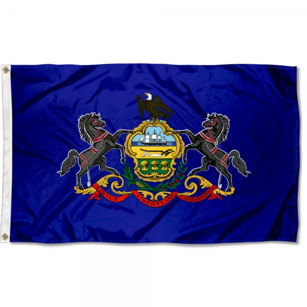 State of Pennsylvania Flag measures 3'x5', is made of 100% poly, has quadruple stitched sewing, two metal grommets, and has double sided State of Pennsylvania logos.