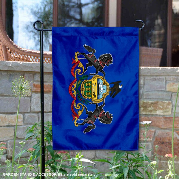 State of Pennsylvania Garden Flag is 13x18 inches in size, is made of thick 1-layer polyester, screen printed logos and lettering, and is viewable on both sides. Available same day shipping, our State of Pennsylvania Garden Flag is a great addition to your decorative garden flag selections.