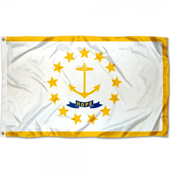 State of Rhode Island Flag measures 3'x5', is made of 100% poly, has quadruple stitched sewing, two metal grommets, and has double sided State of Rhode Island logos.