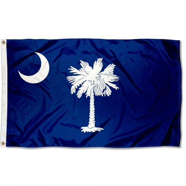 State of South Carolina Flag measures 3'x5', is made of 100% poly, has quadruple stitched sewing, two metal grommets, and has double sided State of South Carolina logos.