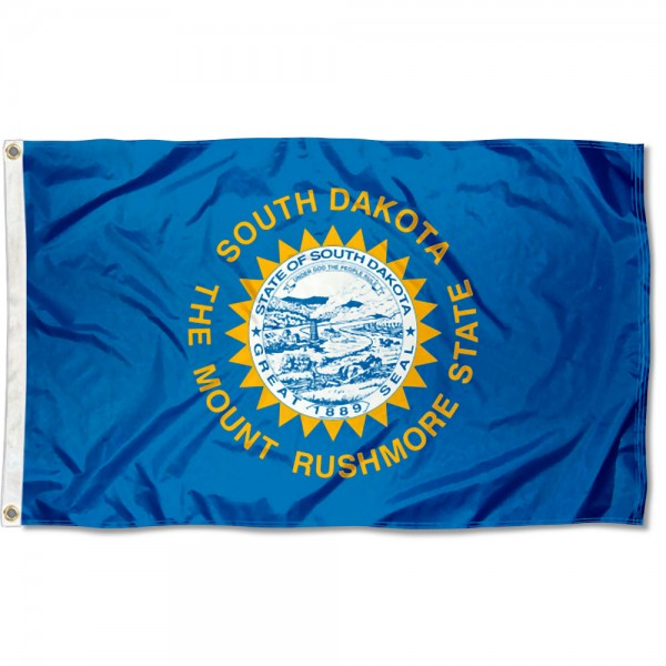 State of South Dakota Flag measures 3'x5', is made of 100% poly, has quadruple stitched sewing, two metal grommets, and has double sided State of South Dakota logos.