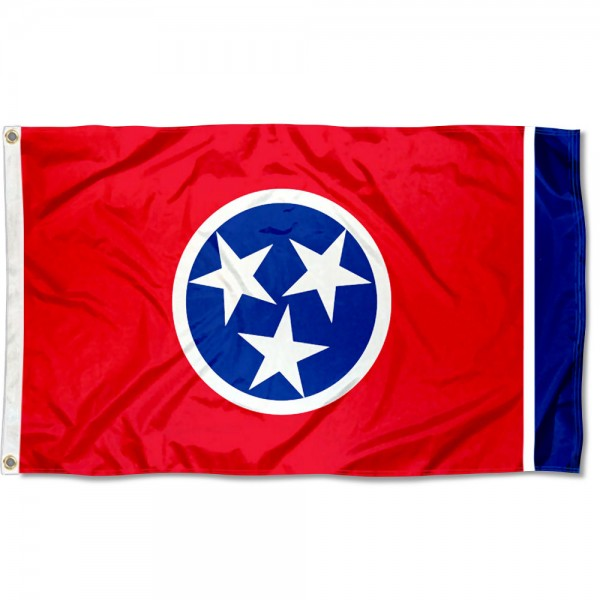 State of Tennessee Flag measures 3'x5', is made of 100% poly, has quadruple stitched sewing, two metal grommets, and has double sided State of Tennessee logos.