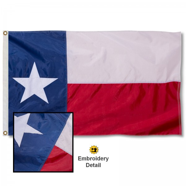 State of Texas Nylon Flag measures 3'x5', is made of 100% nylon, has quadruple stitched sewing, two metal grommets, and has double sided Texas logos.