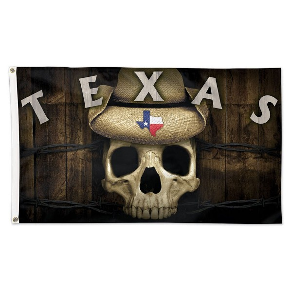 State of Texas Skull Flag measures 3'x5', is made of 100% poly, has quadruple stitched sewing, two metal grommets, and has double sided State of Texas logos.