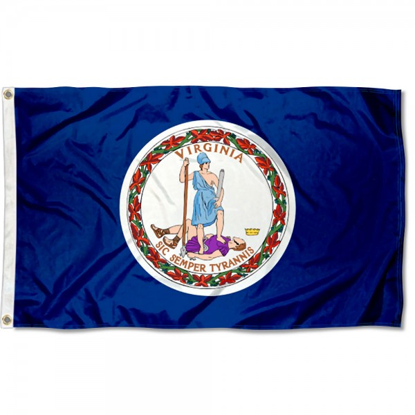 State of Virginia Flag measures 3'x5', is made of 100% poly, has quadruple stitched sewing, two metal grommets, and has double sided State of Virginia logos.