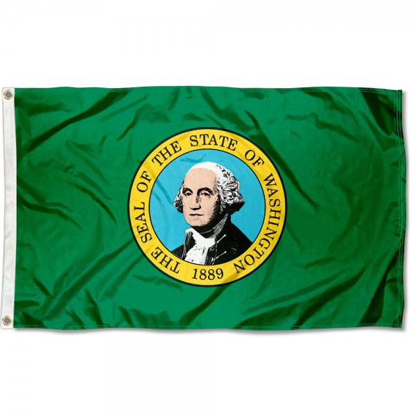 State of Washington Flag measures 3'x5', is made of 100% poly, has quadruple stitched sewing, two metal grommets, and has double sided State of Washington logos.