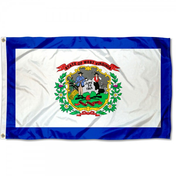 State of West Virginia Flag measures 3'x5', is made of 100% poly, has quadruple stitched sewing, two metal grommets, and has double sided State of West Virginia logos.