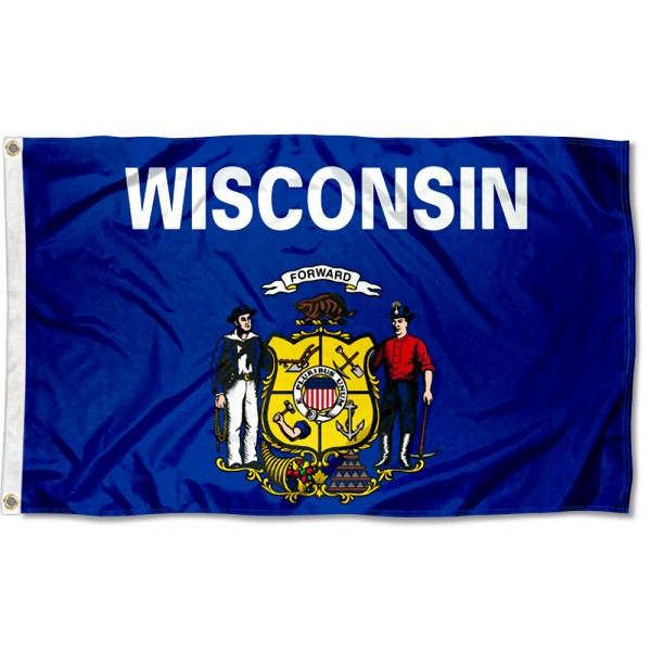State of Wisconsin Flag measures 3'x5', is made of 100% poly, has quadruple stitched sewing, two metal grommets, and has double sided State of Wisconsin logos.