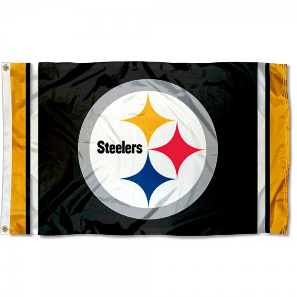 Our Steelers Logo Flag is double sided, made of poly, 3'x5', has two grommets, and four-stitched fly ends. These Steelers Logo Flags are Officially Licensed by the NFL.