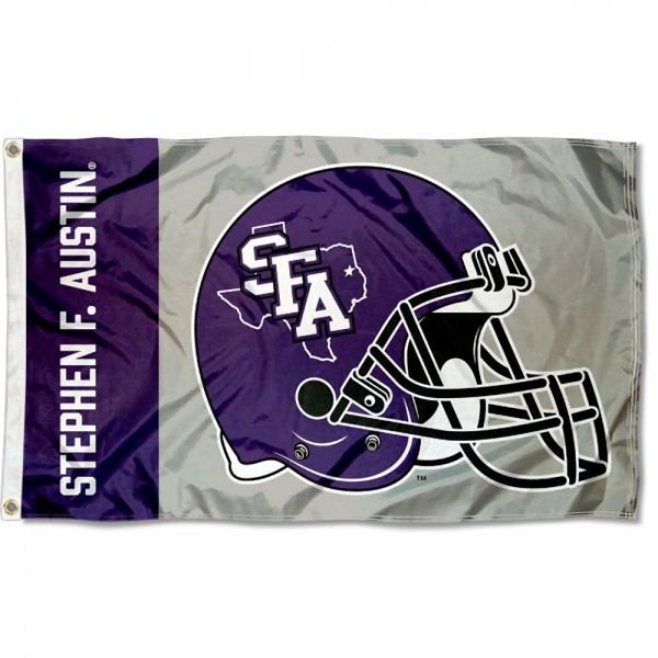 Stephen F. Austin Lumberjacks Football Helmet Flag measures 3x5 feet, is made of 100% polyester, offers quadruple stitched flyends, has two metal grommets, and offers screen printed NCAA team logos and insignias. Our Stephen F. Austin Lumberjacks Football Helmet Flag is officially licensed by the selected university and NCAA.