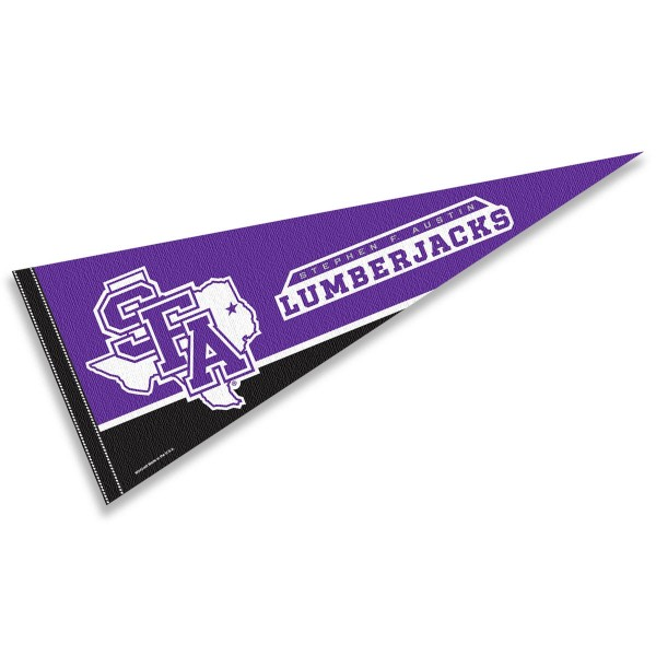 Stephen F. Austin University Felt Pennant consists of our full size pennant which measures 12x30 inches, is constructed of felt, is single sided imprinted, and offers a pennant sleeve for insertion of a pennant stick, if desired. This Stephen F. Austin University Felt Pennant is officially licensed by the selected university and the NCAA.