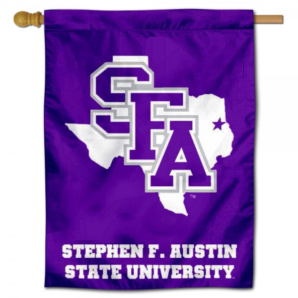 "Stephen F. Austin University House Flag is constructed of polyester material, is a vertical house flag, measures 30""x40"", offers screen printed athletic insignias, and has a top pole sleeve to hang vertically. Our Stephen F. Austin University House Flag is Officially Licensed by Stephen F. Austin University and NCAA."