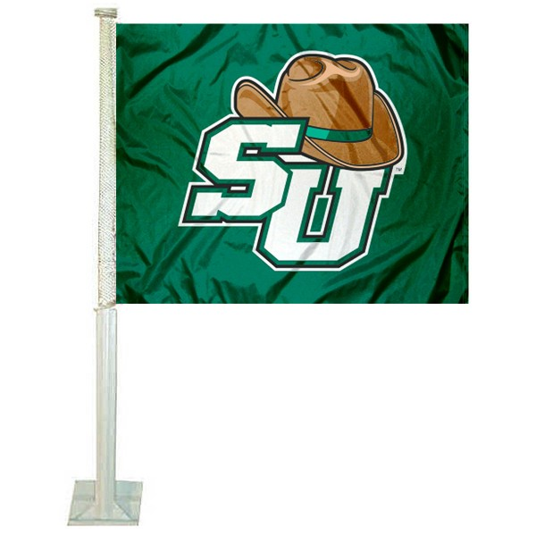 Stetson Hatters Car Window Flag measures 12x15 inches, is constructed of sturdy 2 ply polyester, and has screen printed school logos which are readable and viewable correctly on both sides. Stetson Hatters Car Window Flag is officially licensed by the NCAA and selected university.