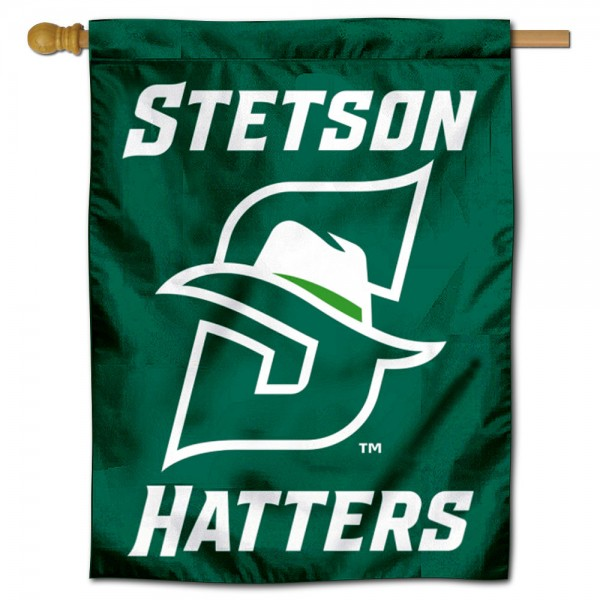 Stetson Hatters Double Sided House Flag is a vertical house flag which measures 30x40 inches, is made of 2 ply 100% polyester, offers screen printed NCAA team insignias, and has a top pole sleeve to hang vertically. Our Stetson Hatters Double Sided House Flag is officially licensed by the selected university and the NCAA.