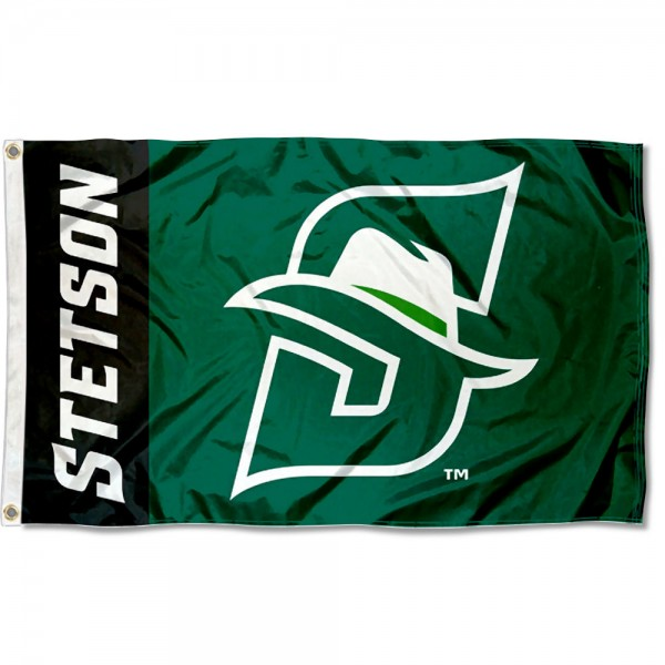 Stetson Hatters New Logo Flag measures 3x5 feet, is made of 100% polyester, offers quadruple stitched flyends, has two metal grommets, and offers screen printed NCAA team logos and insignias. Our Stetson Hatters New Logo Flag is officially licensed by the selected university and NCAA.