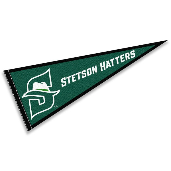 Stetson Hatters Pennant consists of our full size sports pennant which measures 12x30 inches, is constructed of felt, is single sided imprinted, and offers a pennant sleeve for insertion of a pennant stick, if desired. This Stetson Hatters Pennant Decorations is Officially Licensed by the selected university and the NCAA.