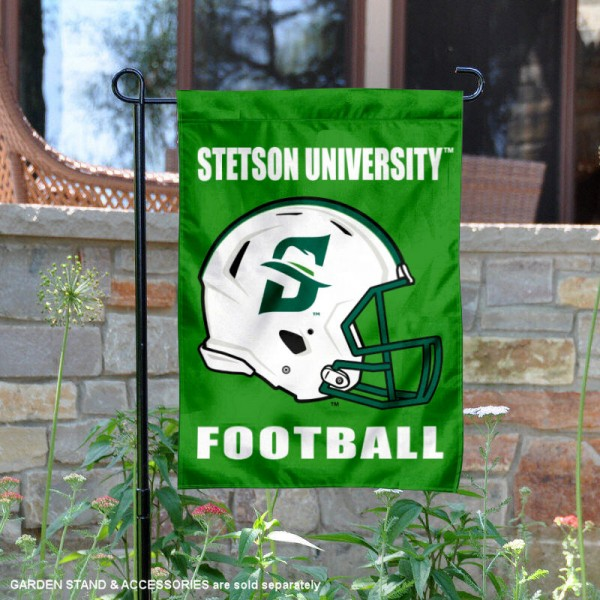 Stetson University Football Helmet Garden Banner is 13x18 inches in size, is made of 2-layer polyester, screen printed Stetson University athletic logos and lettering. Available with Same Day Express Shipping, Our Stetson University Football Helmet Garden Banner is officially licensed and approved by Stetson University and the NCAA.