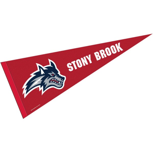 Stony Brook University Pennant consists of our full size sports pennant which measures 12x30 inches, is constructed of felt, is single sided imprinted, and offers a pennant sleeve for insertion of a pennant stick, if desired. This Stony Brook University Felt Pennant is officially licensed by the selected university and the NCAA.