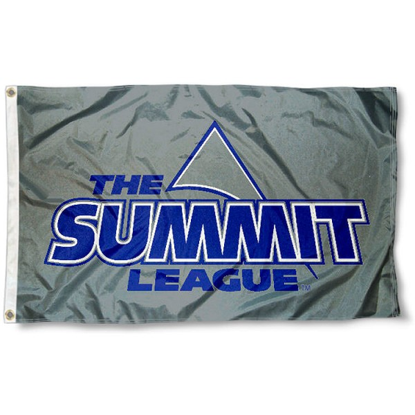 Summit League Conference Flag measures 3'x5', is made of 100% poly, has quadruple stitched sewing, two metal grommets, and has double sided Summit League Conference logos. Our Summit League Conference Flag is officially licensed by the selected Conference and the NCAA.