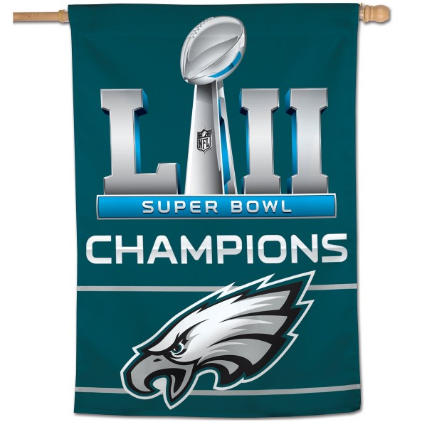 "These House Flags for Philadelphia Eagles are 28""x40"", have current NFL Team Logo Designs, made of polyester, and Same Day Shipped with Overnight Express Delivery. This Super Bowl 52 Champions House Flag for Philadelphia Eagles provides a top pole sleeve and is NFL Officially Licensed."