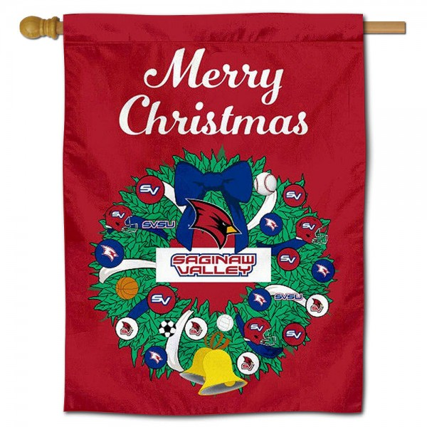 SVSU Cardinals Happy Holidays Banner Flag measures 30x40 inches, is made of poly, has a top hanging sleeve, and offers dye sublimated SVSU Cardinals logos. This Decorative SVSU Cardinals Happy Holidays Banner Flag is officially licensed by the NCAA.