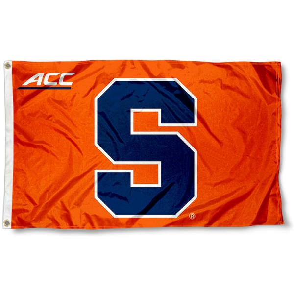 Syracuse ACC Flag measures 3'x5', is made of 100% poly, has quadruple stitched sewing, two metal grommets, and has double sided Team University logos. Our Syracuse ACC Flag is officially licensed by the selected university and the NCAA.