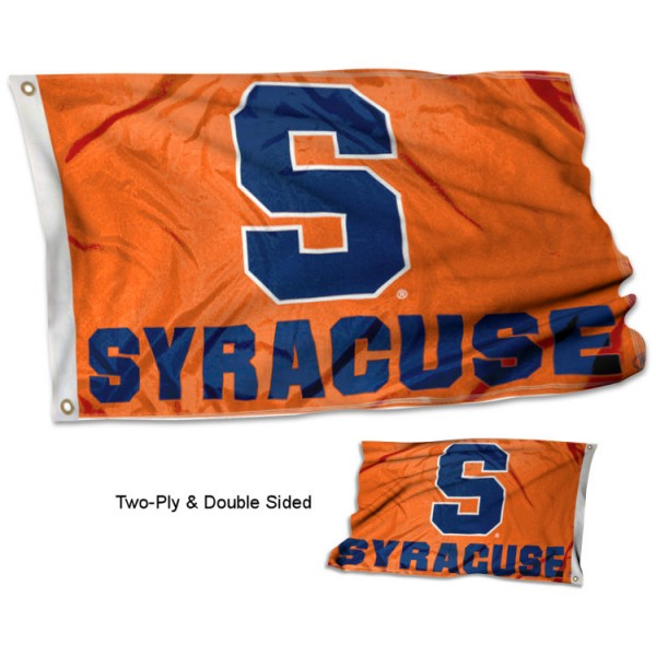 Syracuse Double Sided 3x5 Flag measures 3'x5', is made of 2 layer 100% polyester, has quadruple stitched flyends for durability, and is readable correctly on both sides. Our Syracuse Double Sided 3x5 Flag is officially licensed by the university, school, and the NCAA.