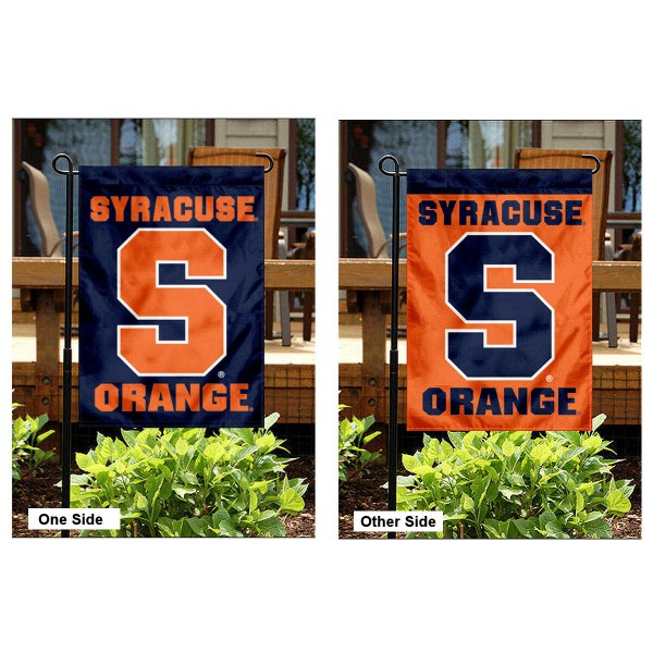 Syracuse Garden Flag is 13x18 inches in size, is made of 2-layer polyester, screen printed Syracuse athletic logos and lettering. Available with Same Day Express Shipping, Our Syracuse Garden Flag is officially licensed and approved by Syracuse and the NCAA.