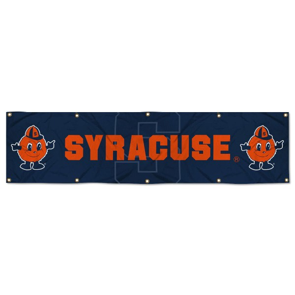 Syracuse Orange 8 Foot Large Banner measures 2x8 feet and displays Syracuse Orange logos. Our Syracuse Orange 8 Foot Large Banner is made of thick polyester and ten grommets around the perimeter for hanging securely. These banners for Syracuse Orange are officially licensed by the NCAA.