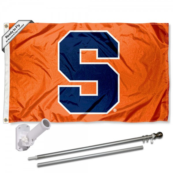 Our Syracuse Orange Block S Flag Pole and Bracket Kit includes the flag as shown and the recommended flagpole and flag bracket. The flag is made of polyester, has quad-stitched flyends, and the NCAA Licensed team logos are double sided screen printed. The flagpole and bracket are made of rust proof aluminum and includes all hardware so this kit is ready to install and fly.