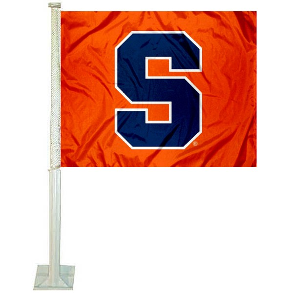 Syracuse Orange Car Window Flag measures 12x15 inches, is constructed of sturdy 2 ply polyester, and has screen printed school logos which are readable and viewable correctly on both sides. Syracuse Orange Car Window Flag is officially licensed by the NCAA and selected university.
