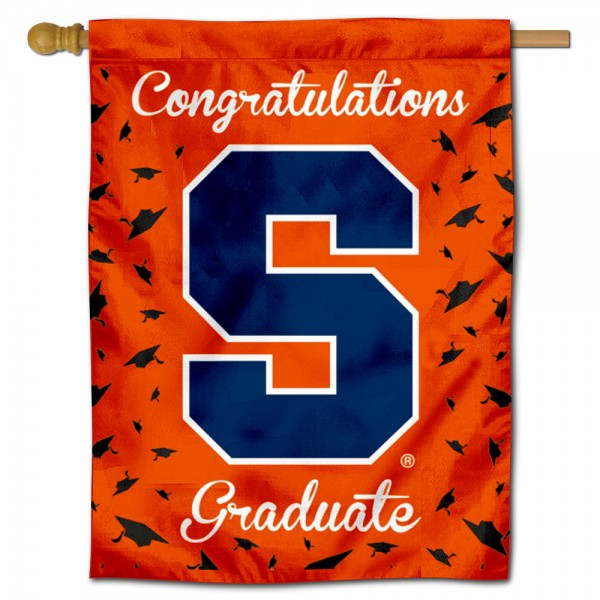 Syracuse Orange Congratulations Graduate Flag measures 30x40 inches, is made of poly, has a top hanging sleeve, and offers dye sublimated Syracuse Orange logos. This Decorative Syracuse Orange Congratulations Graduate House Flag is officially licensed by the NCAA.
