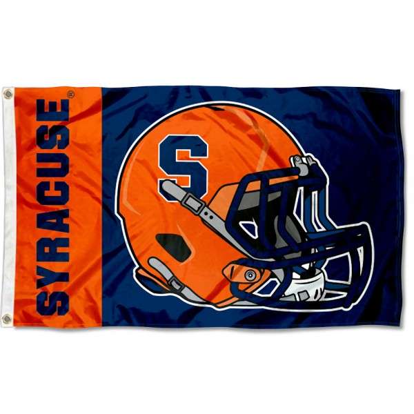 Syracuse Orange Football Helmet Flag measures 3x5 feet, is made of 100% polyester, offers quadruple stitched flyends, has two metal grommets, and offers screen printed NCAA team logos and insignias. Our Syracuse Orange Football Helmet Flag is officially licensed by the selected university and NCAA.