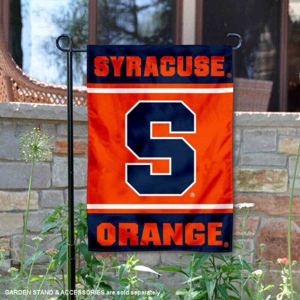Syracuse Orange Garden Flag is 13x18 inches in size, is made of 2-layer polyester, screen printed logos and lettering. Available with Same Day Express Shipping, Our Syracuse Orange Garden Flag is officially licensed and approved by the NCAA.