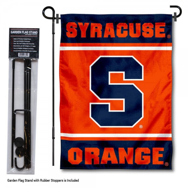 "Syracuse Orange Garden Flag and Pole Stand Holder kit includes our 13""x18"" garden banner which is made of 2 ply poly with liner and has screen printed licensed logos. Also, a 40""x17"" inch garden flag stand is included so your Syracuse Orange Garden Flag and Pole Stand Holder is ready to be displayed with no tools needed for setup. Fast Overnight Shipping is offered and the flag is Officially Licensed and Approved by the selected team."