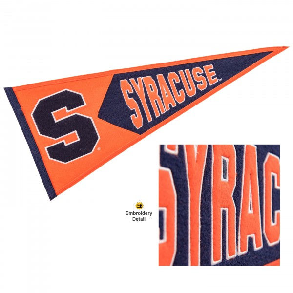 Syracuse Orange Genuine Wool Pennant consists of our full size 13x32 inch Winning Streak Sports wool college pennant. The logos, lettering and insignia is quality embroidered and appliqued, feature a alternate logo color header, and has sewn wool perimeter. This Syracuse Orange College Pennant Pennant is Officially Licensed and University Approved with Overnight Next Day Shipping.
