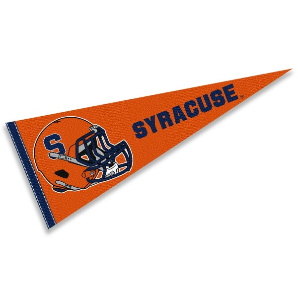 Syracuse Orange Helmet Pennant consists of our full size sports pennant which measures 12x30 inches, is constructed of felt, is single sided imprinted, and offers a pennant sleeve for insertion of a pennant stick, if desired. This Syracuse Orange Pennant Decorations is Officially Licensed by the selected university and the NCAA.