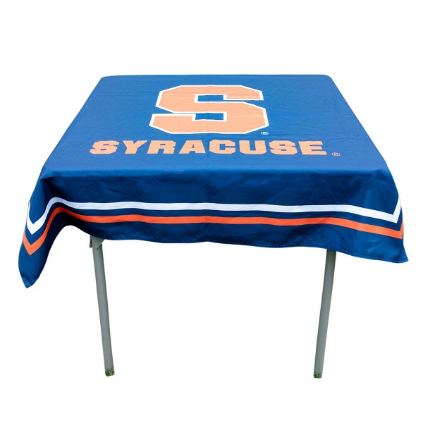 Syracuse Orange Table Cloth measures 48 x 48 inches, is made of 100% Polyester, seamless one-piece construction, and is perfect for any tailgating table, card table, or wedding table overlay. Each includes Officially Licensed Logos and Insignias.