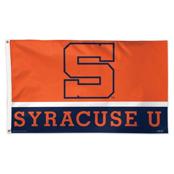 Syracuse Orange Throwback Vintage Flag measures 3'x5', is made of 100% poly, has quadruple stitched sewing, two metal grommets, and has double sided Team University logos. Our Syracuse Orange Throwback Vintage Flag is officially licensed by the selected university and the NCAA.