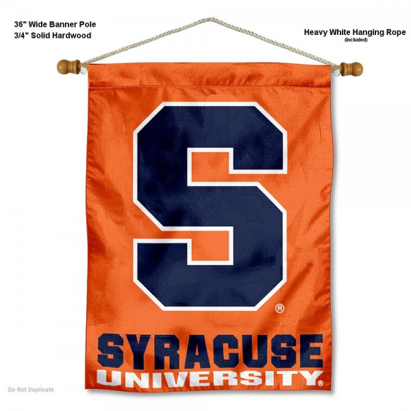 """Syracuse Orange Wall Banner is constructed of polyester material, measures a large 30""""x40"""", offers screen printed athletic logos, and includes a sturdy 3/4"""" diameter and 36"""" wide banner pole and hanging cord. Our Syracuse Orange Wall Banner is Officially Licensed by the selected college and NCAA."""