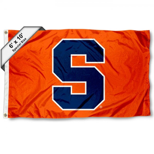 Syracuse University 6'x10' Flag measures 6x10 feet, is made of thick poly, has quadruple-stitched fly ends, and Syracuse logos are screen printed into the Syracuse 6'x10' Flag. This 6'x10' Flag is officially licensed by and the NCAA.