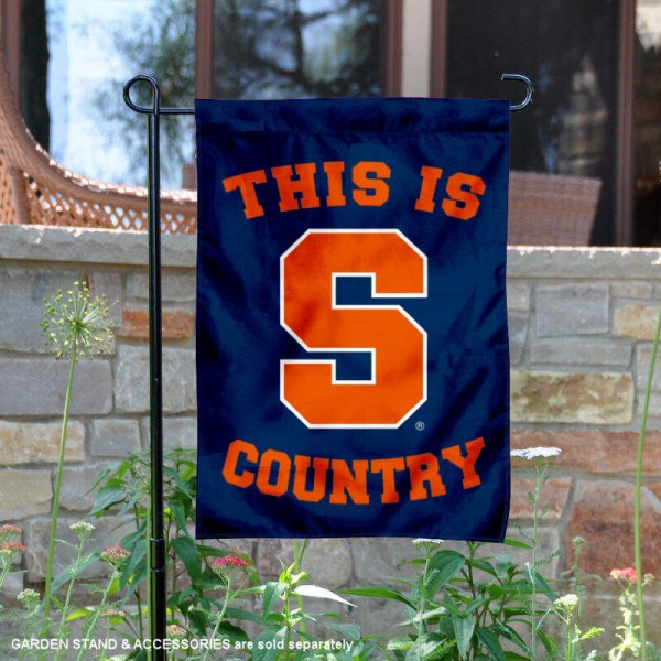 Syracuse University Country Garden Flag is 13x18 inches in size, is made of 2-layer polyester, screen printed university athletic logos and lettering, and is readable and viewable correctly on both sides. Available same day shipping, our Syracuse University Country Garden Flag is officially licensed and approved by the university and the NCAA.